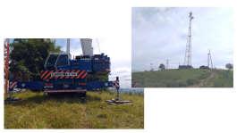 Guindaste ATF 90 operando em desmontagem de antena
