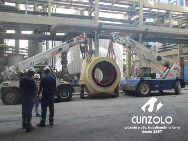 A Cunzolo realizou o içamento de um rotor com diâmetro de 3,20 metros, e peso de 20 toneladas e um estator com 4,5 metros de comprimento,1,20 de diâmetro e peso de 15 toneladas.
