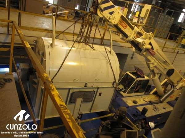 A Cunzolo realizou o içamento de uma Peneira. Para essa operação foram utilizados o Guindaste Rodoviário Tadano ATF 90 (cap. 90t.), Guindaste industrial Ormig 25 (cap. 25t.) e os Cavalos Mecânico FH540 e FH460.