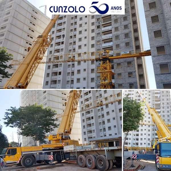 Desmontagem e transporte de módulos de grua em Itatiba-SP realizado com Guindaste Rodoviário Cunzolo.