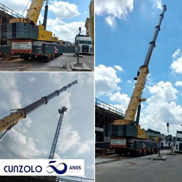 Operação de transporte pesado e içamento de carga na cidade de Bragança Paulista – SP, foi realizado com Carreta e Guindaste Rodoviário Cunzolo.