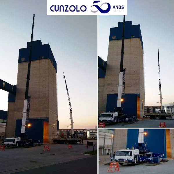 Içamento de elevador de caneca realizado com o Guindaste Rodoviário Tadano ATF 220 e Guindaste Rodoviário Tadano ATF 90.