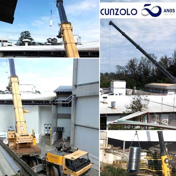 A Equipe Cunzolo realizou o içamento de silo em fábrica na cidade de Várzea Paulista com o auxílio de Guindaste Rodoviário.